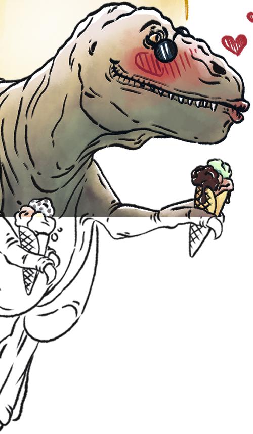 Detail_Skizze_T-Rex_Dinosaurier_Sommerzeit_Comicillustration_Cartoonstyle_Meau-Design_Melanie-Austermann_Grafikesigner_Illustrator