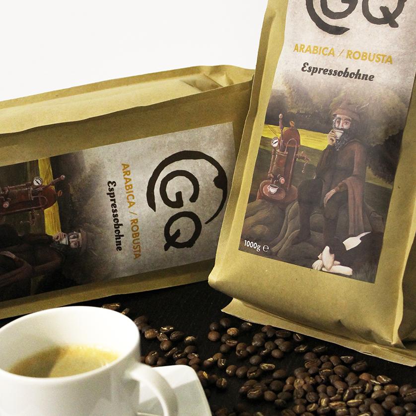 Vorschaubild für Portfoliobeitrag GQ Coffee Manufacture, Logogestaltung, Corporate Design und Label Design