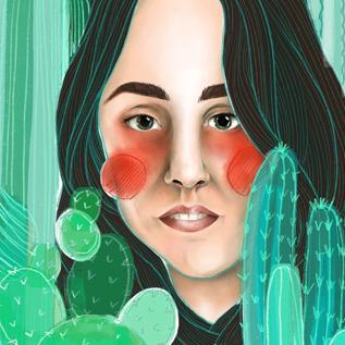 """Vorschaubild für Portfoliobeitrag """"Kaktusporträt"""", private digitale Illustration"""