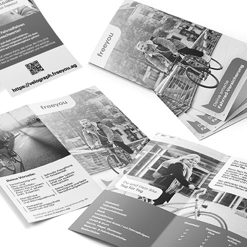 MEAU DESIGN - farbenfrohe Illustrationen und aufgeräumte Grafikdesigns - Vorschaubild Portfolio, Referenzen, Freeyou Fahrradversicherung, Werbemittel, Flyer, Printanzeigen, Messestandgrafiken etc. nach Corporate Design
