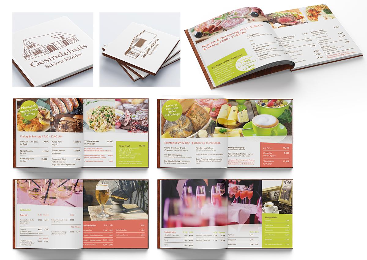 Werbemittel und Corporate Design, Getränkekarte, Speisekarte, Layoutdesign, Layoutgestaltung