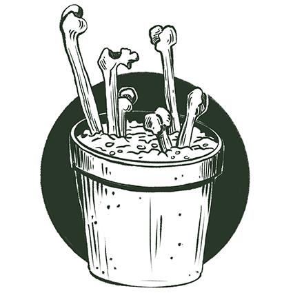 Melanie-Austermann_Meau-Design_Illustration_Grafikdesign_Horrorillustration_Knochenpflanze