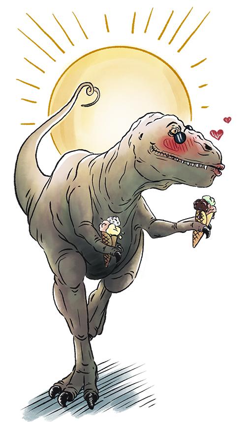 T-Rex_Dinosaurier_Sommerzeit_Comicillustration_Cartoonstyle_Meau-Design_Melanie-Austermann_Grafikesigner_Illustrator