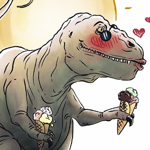 """Vorschaubild für Portfoliobeitrag """"T-Rex Summer"""", fiktive Werbeillustration"""
