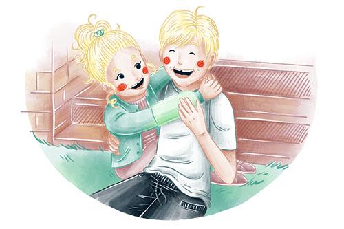 Covergestaltung, Coverillustration Ava und Franz, Ava umarmt Franz, Kinder, Kinderbuchillustration