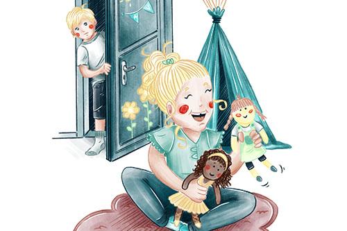 Buchillustration Ava und Franz, Ava spielt mit Puppen, Gummibärchen, Kinder, Kinderbuchillustration