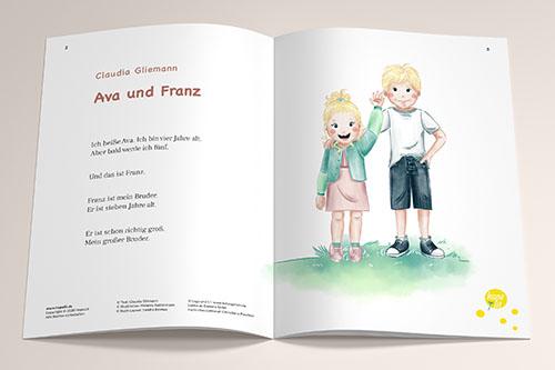 Buchillustration Ava und Franz, Ava und Franz winken, Kinder, Kinderbuchillustration