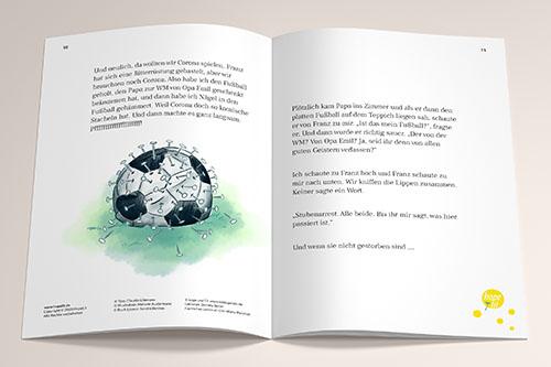 Buchillustration Ava und Franz, Fußball als Coronavirus, Kinder, Kinderbuchillustration