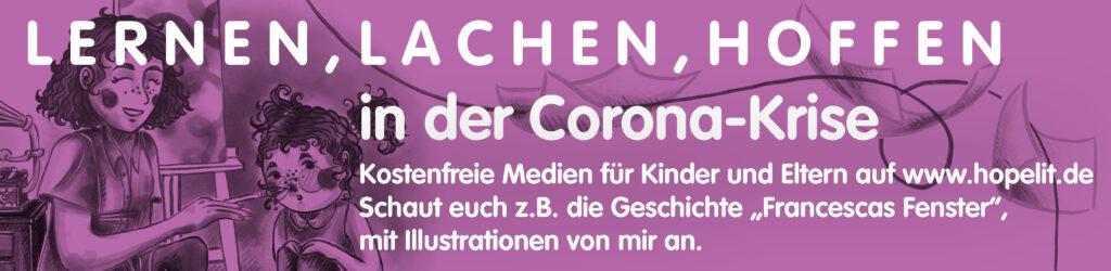 News-Banner, Veröffentlichung und Kooperation, HopeLit, Francescas Fenster Kindergeschichte, kreative Inhalte für Kinder, Kinderbuchillustration