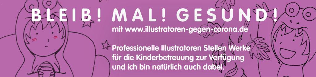 News-Banner, Veröffentlichungen und Kooperation, Kooperation Illustratoren gegen Corona, kreative Inhalte für Kinder