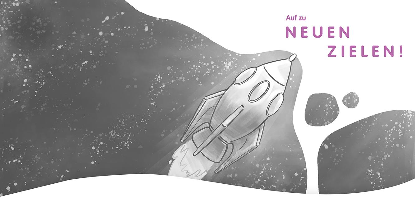 Header MEAU DESIGN, mit Illustration Rakete, Auf zu neuen Zielen