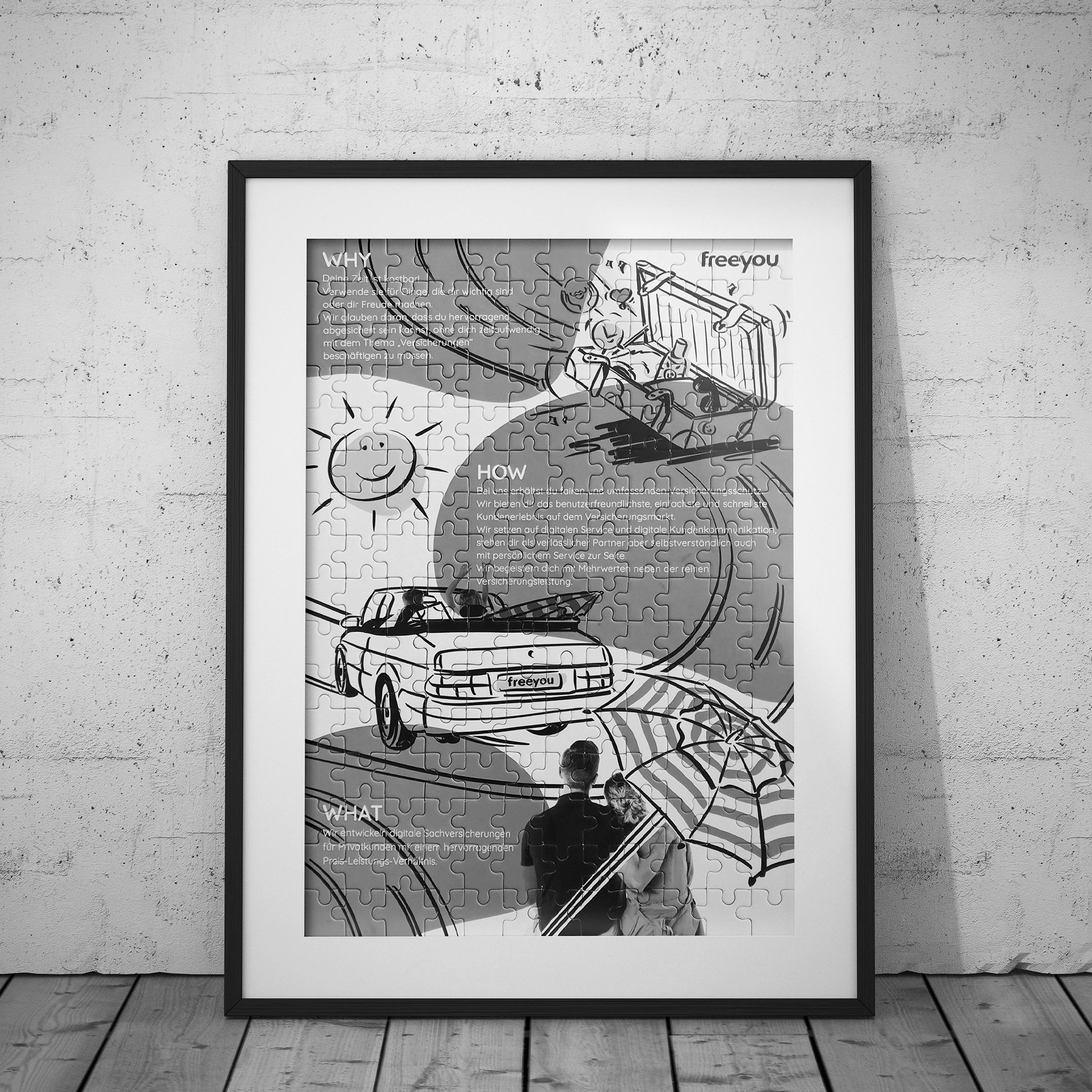 MEAU DESIGN - Illustration und Grafikdesign - Vorschaubild Portfolio, Referenzen, Freeyou Autoversicherung und Fahrradversicherung, Unternehmenspuzzle, Puzzle Design